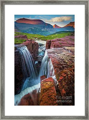 Triple Falls Sunset Framed Print by Inge Johnsson