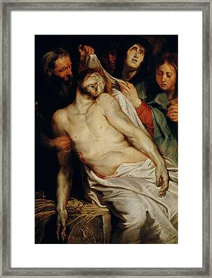 Triptych Of Christ On The Straw Framed Print by Rubens
