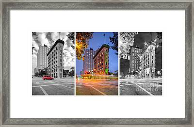 Triptych Of The Flatiron Building In Downtown Fort Worth - Texas  Framed Print by Silvio Ligutti