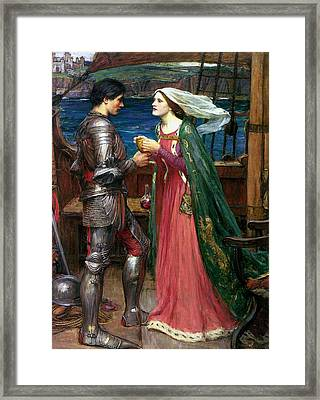 Tristan And Isolde With The Potion Framed Print by John William Waterhouse