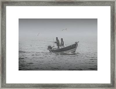 Trolling For Salmon In The Fog Framed Print by Randall Nyhof