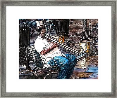 Trombone Player In Jackson Square Framed Print by John Boles