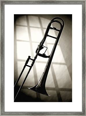 Trombone Silhouette And Window Framed Print by M K  Miller