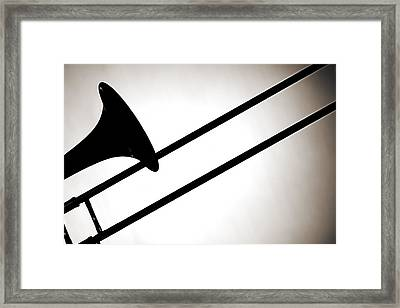 Trombone Silhouette Isolated Framed Print by M K  Miller