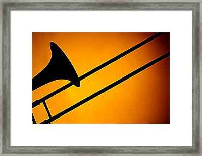 Trombone Silhouette On Gold Framed Print by M K  Miller