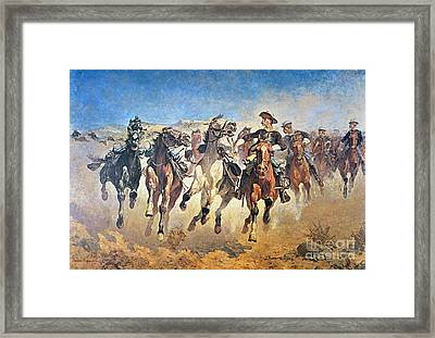 Troopers Moving Framed Print by Frederic Remington