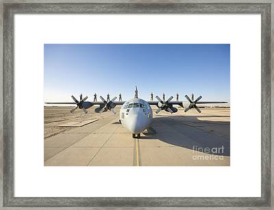 Troops Stand On The Wings Of A C-130 Framed Print by Terry Moore