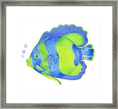 Tropical Blue Angel Fish Framed Print by Laura Nikiel