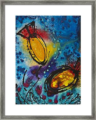Underwater Diva Framed Print featuring the painting Tropical Flower Fish by Sharon Cummings