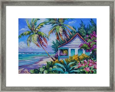 Tropical Island Cottage Framed Print by John Clark