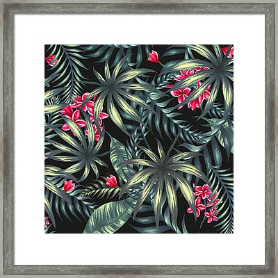 Tropical Leaf Pattern  Framed Print by Stanley Wong