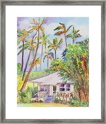 Tropical Waimea Cottage Framed Print by Marionette Taboniar