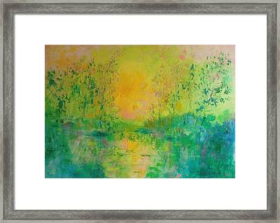 Trees In Sunset Framed Print by Demeter Gui