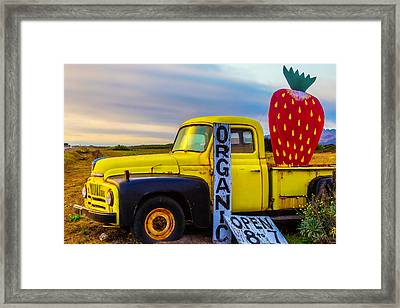 Truck With Strawberry Sign Framed Print by Garry Gay