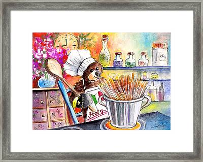Truffle Mcfurry Cooking Spaghettis Framed Print by Miki De Goodaboom