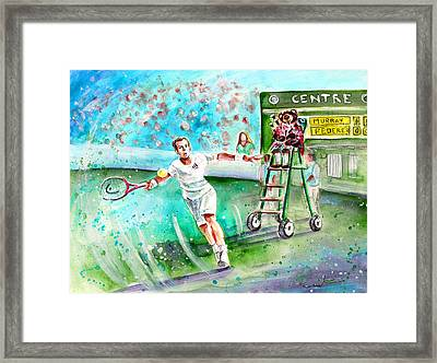 Truffle Mcfurry Playing The Bagpipes For Andy Murray At Wimbledon Framed Print by Miki De Goodaboom