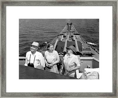 Truman Family At Sea Framed Print by Underwood Archives