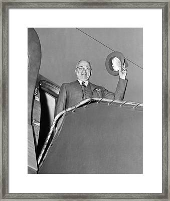 Truman Off On Vacation Framed Print by Underwood Archives