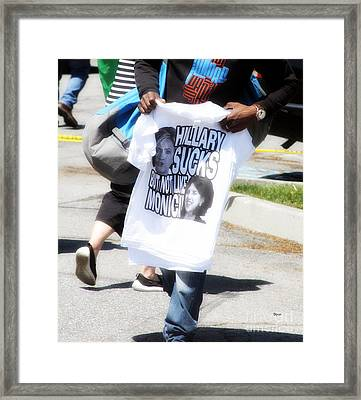 Trump Selling Hillary  Framed Print by Steven Digman