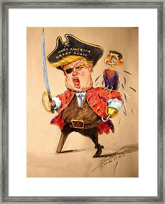 Trump, The Short Fingers Pirate With Ryan, The Bird Framed Print by Ylli Haruni