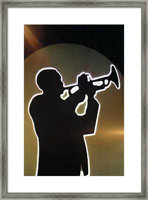 Trumpet - Classic Jazz Music All Night Long Framed Print by Christine Till