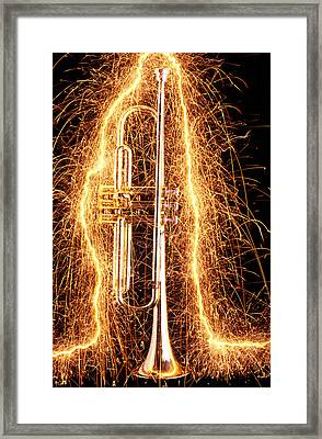 Trumpet Outlined With Sparks Framed Print by Garry Gay