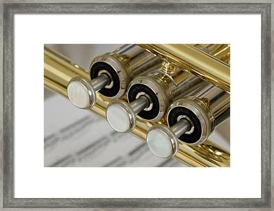 Trumpet Valves Framed Print by Frank Tschakert
