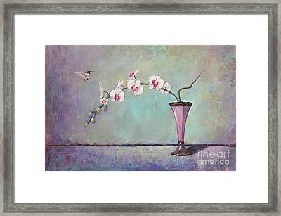Trumpet Vase And Orchid  Framed Print by Lori  McNee