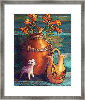 Trumpet Vines And Pottery Framed Print by Candy Mayer