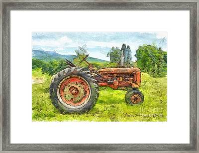 Trusty Old Red Tractor Pencil Framed Print by Edward Fielding