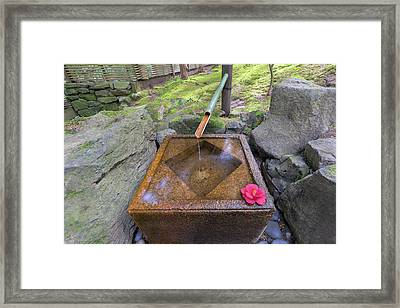 Tsukubai Water Fountain In Japanese Garden Framed Print by Jpldesigns
