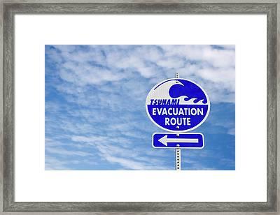 Tsunami Evacuation Route Sign Framed Print by Carol Leigh