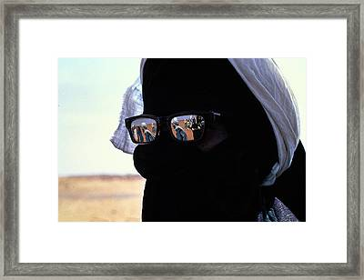 Tuareg With Sunglasses Framed Print by Carl Purcell