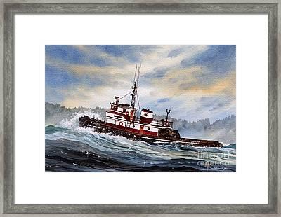 Tugboat Earnest Framed Print by James Williamson