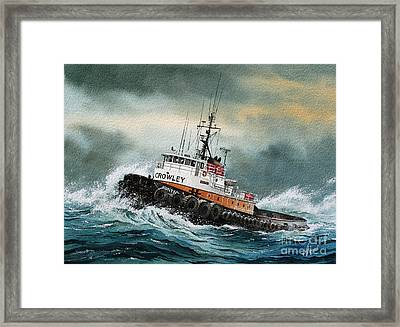 Tugboat Hunter Crowley Framed Print by James Williamson