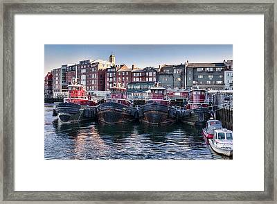 Tugboats In The Harbor Framed Print by Heather Applegate