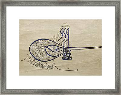 Tughra Of Suleiman The Magnificent Framed Print by Ayhan Altun