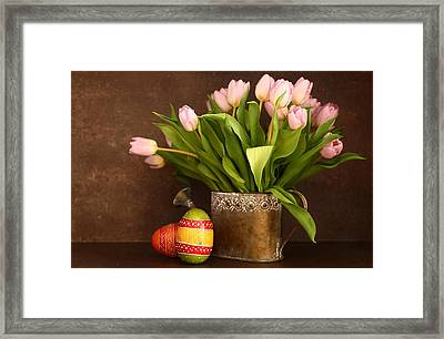 Tulip And Eggs Framed Print by Heike Hultsch