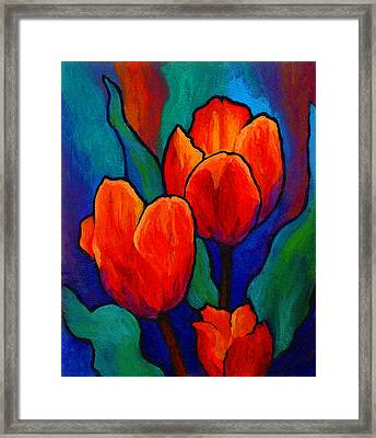 Tulip Trio Framed Print by Marion Rose