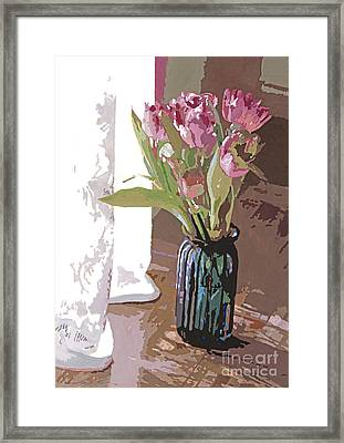 Tulips In A Glass Vase Framed Print by David Lloyd Glover