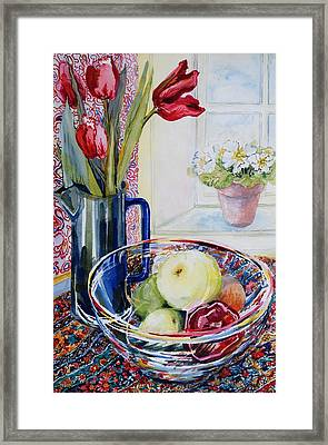 Tulips In A Jug With A Glass Bowl Framed Print by Joan Thewsey