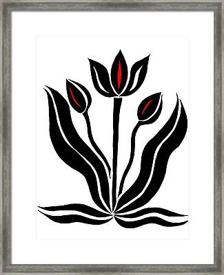Tulips In Abstract Framed Print by Beth Akerman