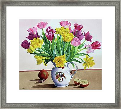 Tulips In Jug With Apples Framed Print by Christopher Ryland