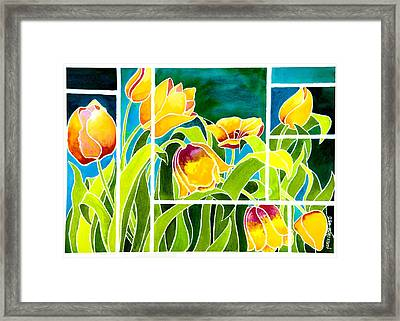 Tulips In Stained Glass Framed Print by Janis Grau