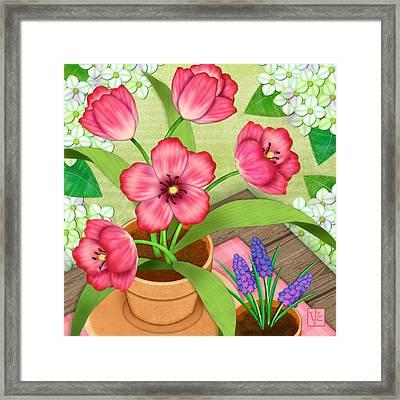 Tulips On A Spring Day Framed Print by Valerie Drake Lesiak