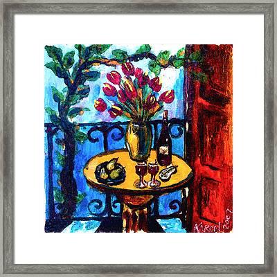 Tulips Wine And Pears Framed Print by Karon Melillo DeVega