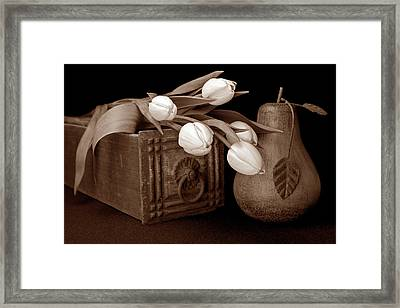 Tulips With Pear I Framed Print by Tom Mc Nemar
