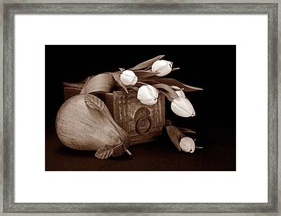 Tulips With Pear II Framed Print by Tom Mc Nemar