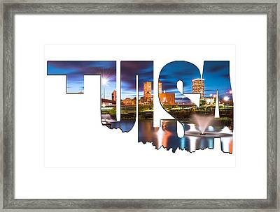 Tulsa Oklahoma Typographic Letters - Tulsa On The Water Framed Print by Gregory Ballos