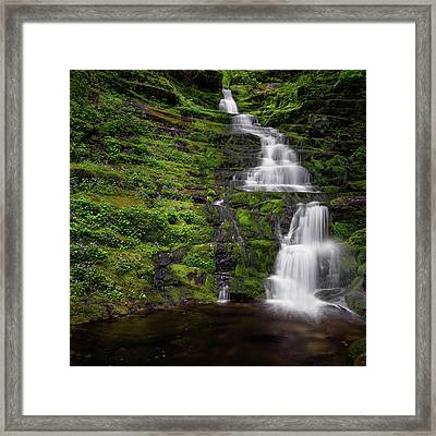 Tunxis Forest Waterfall Square Framed Print by Bill Wakeley